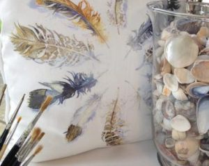 Watters. Flurry of Feathers cushion